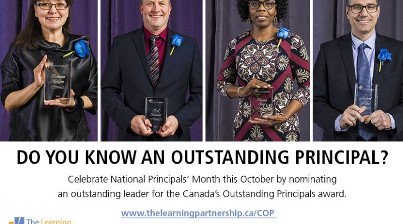 Canada's Outstanding Principals – Nominations due Oct 29th, 2018.