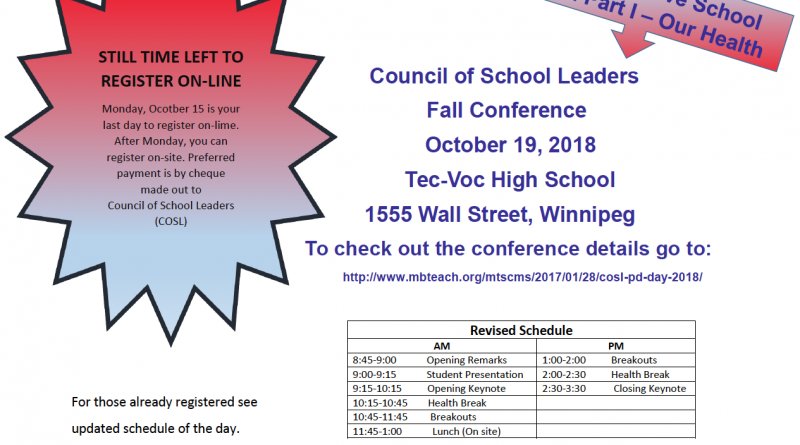 Last minute reminder Fall conference Oct 19 2018